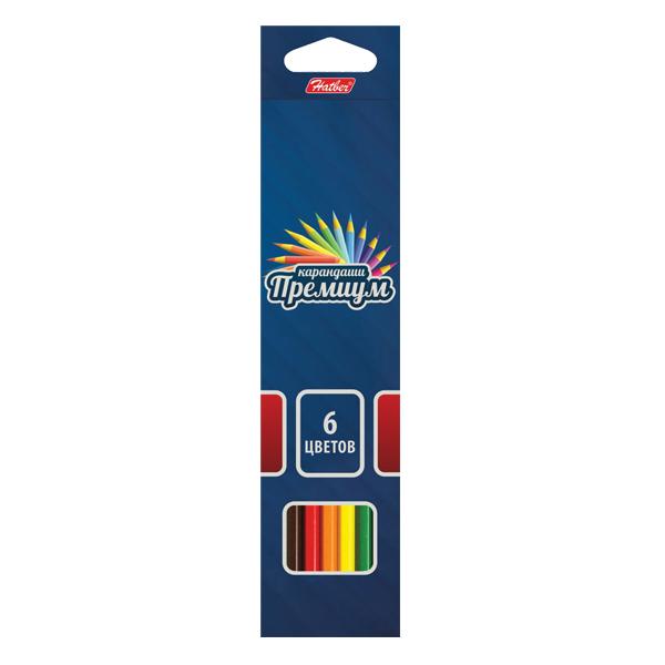 Карандаши цветные 6 цв Hatber Премиум супермягкий