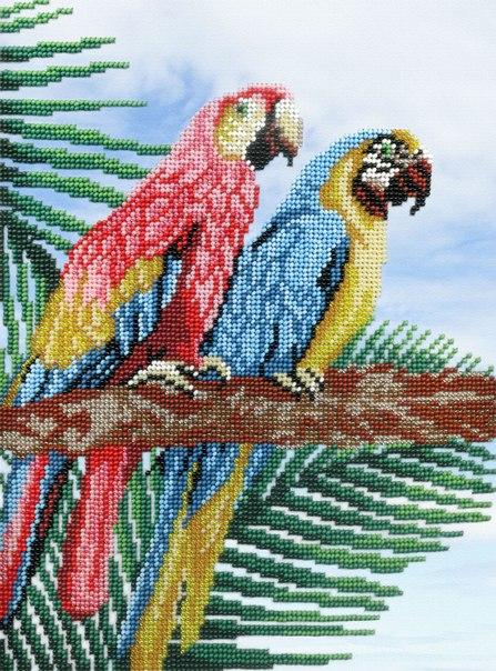 Творч Вышивка бисером на габардине 28х28 Попугаи