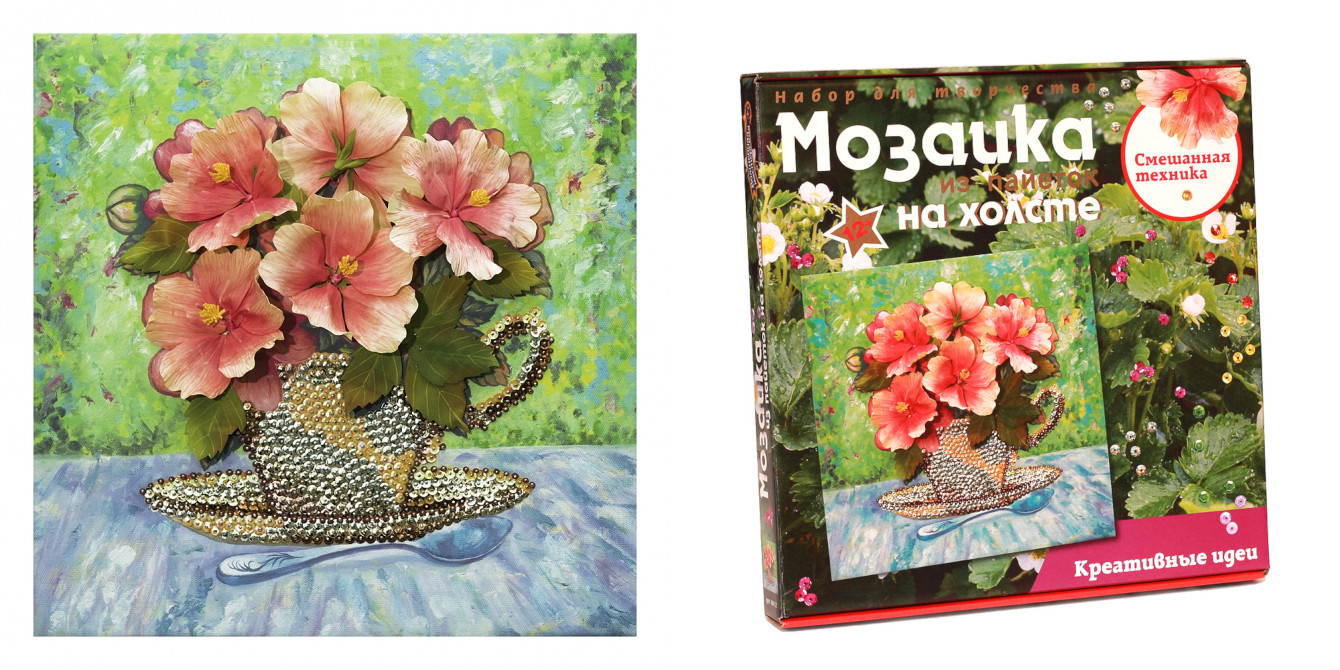 Творч Мозаика из пайеток на холсте 30*30 Летний букет