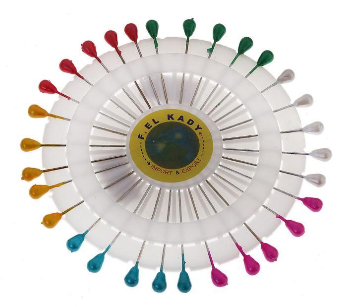 Булавочница 30 булавок на круге d=11см 5,5см, капля цветная