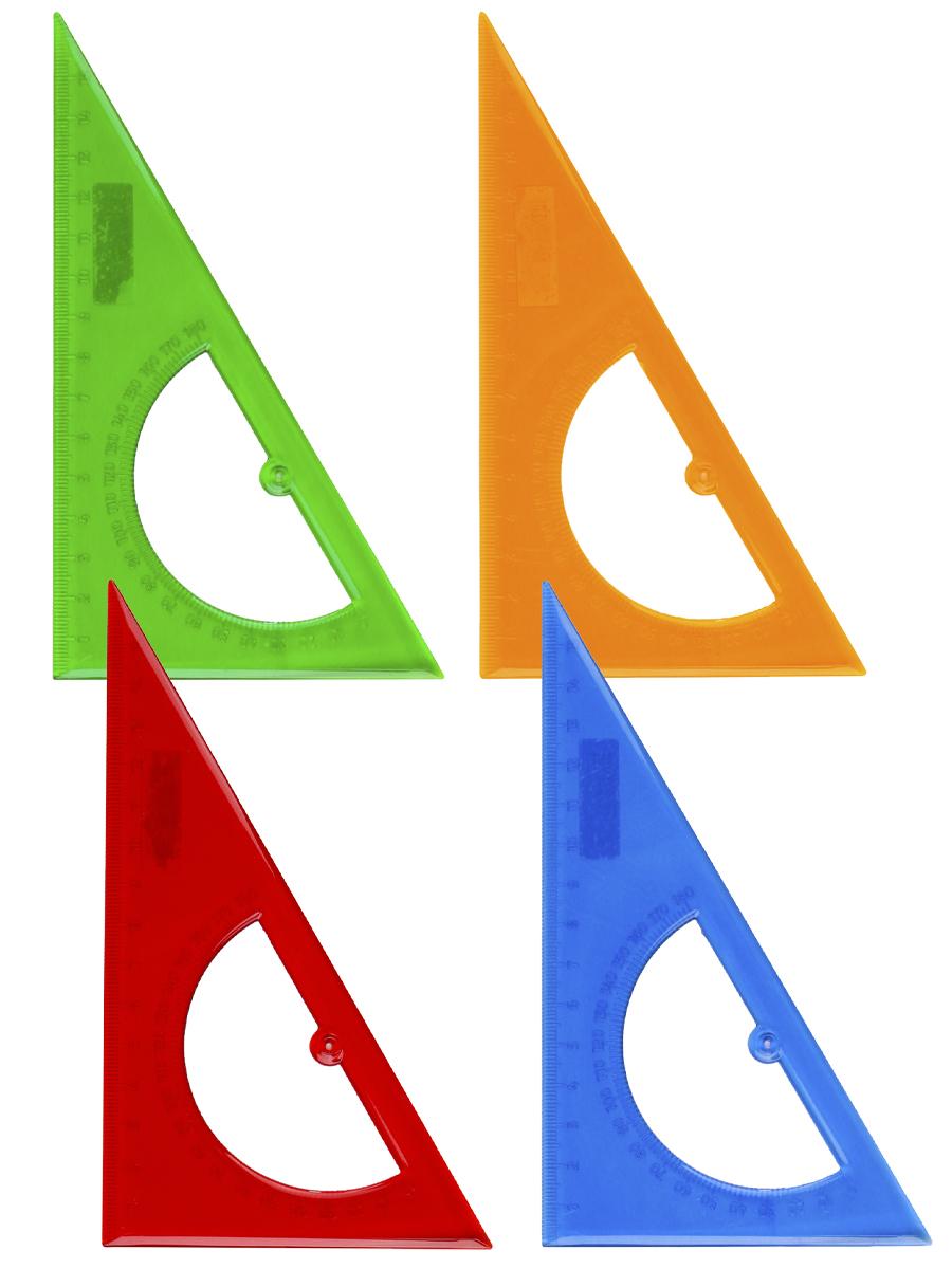 Треугольник + транспортир пластик. 16см 30гр цветной