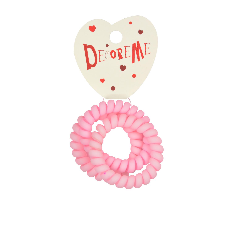 Резинка для волос 3 шт/уп спиральная матовая розовая