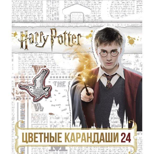 Карандаши цветные 24 цв Hatber Гарри Поттер с заточ.