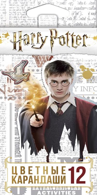 Карандаши цветные 12 цв Hatber Гарри Поттер с заточ.