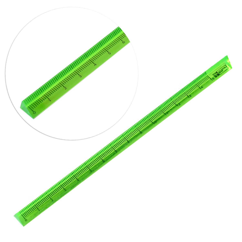 Линейка пласт. 15 см трёхгранная зеленая