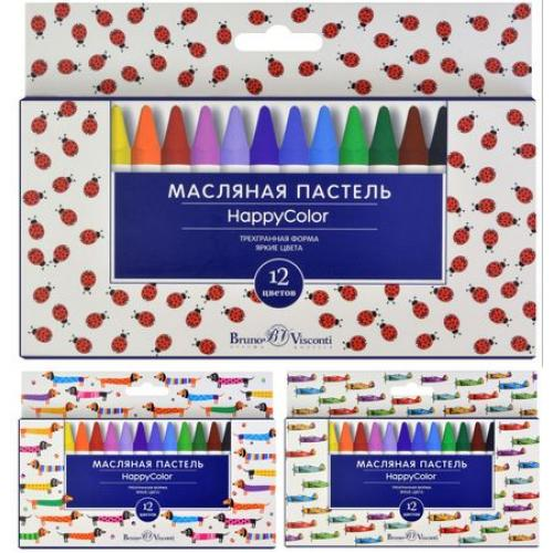 Мелки пастельные 12цв BV Happycolor на масляной основе