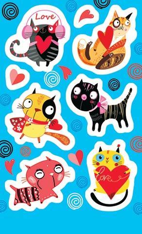 Наклейки 0-11-344А Кошки, сердца