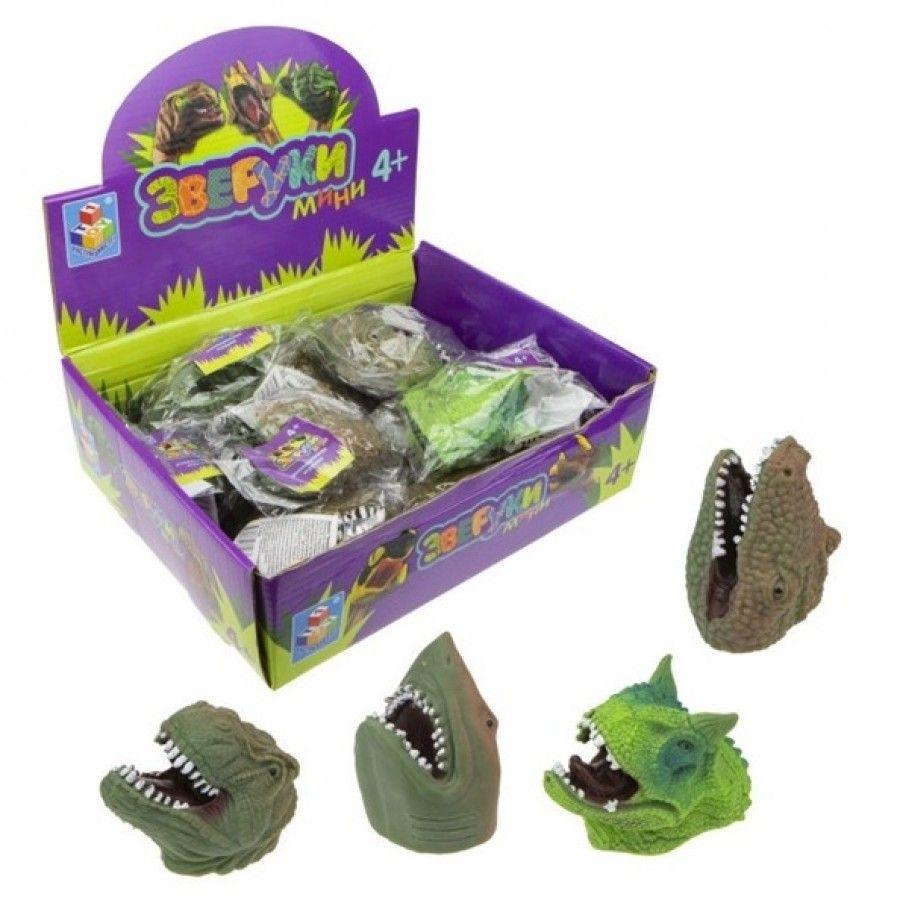 из ПВХ Зверуки мини динозавр на руку 8см 6в