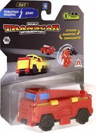 Трансформер Transcar 2в1: Пожарная машина - Джип, 8см