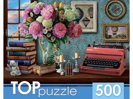 Пазл 500 Toppuzzle Натюрморт с печатной машинкой