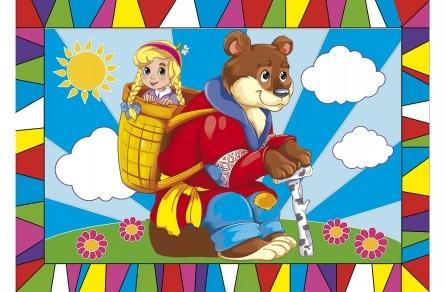 Творч Гравюра А4 Машенька и медведь(цветная)