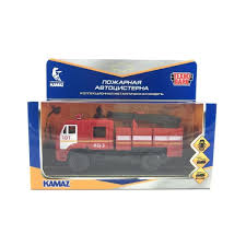 Машина KAMAZ 43502 Пожарная АЦ 15см, металл, двери, инерц, свет-звук