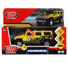 Машина Hummer h2 спорт 12см, металл свет-звук, инерц., желтая