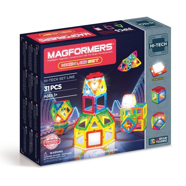 Конструктор магнитный Магформерс Neon Led set 31дет.