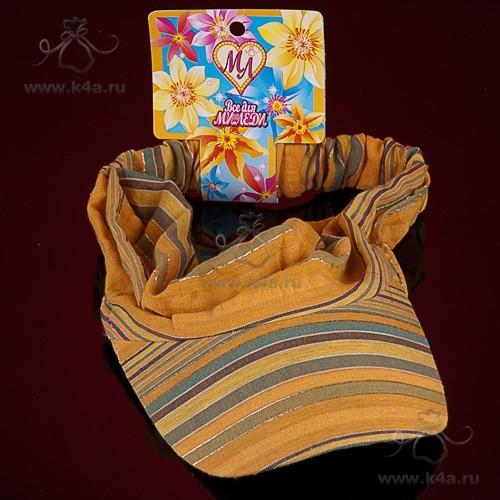Бандана-повязка для волос шелковая желтая с козырьком