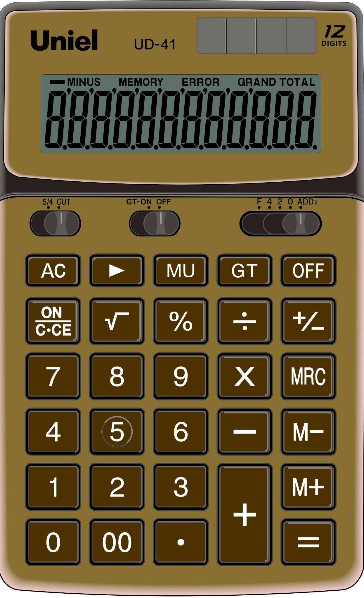 Калькулятор 12 разр. Uniel настольный золото
