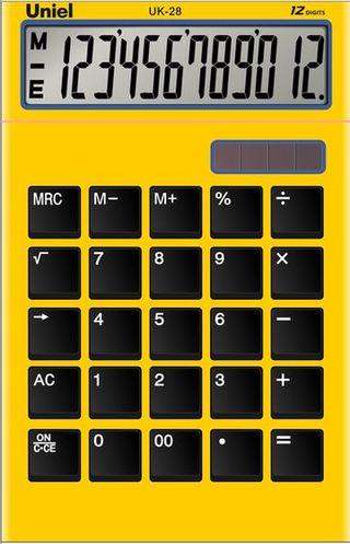 Калькулятор 12 разр. Uniel настольный желтый
