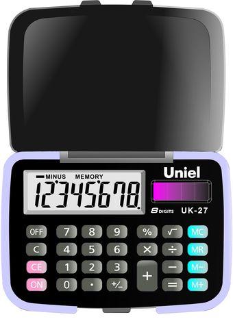 Калькулятор 8 разр. Uniel карманный черно-фиолетовый