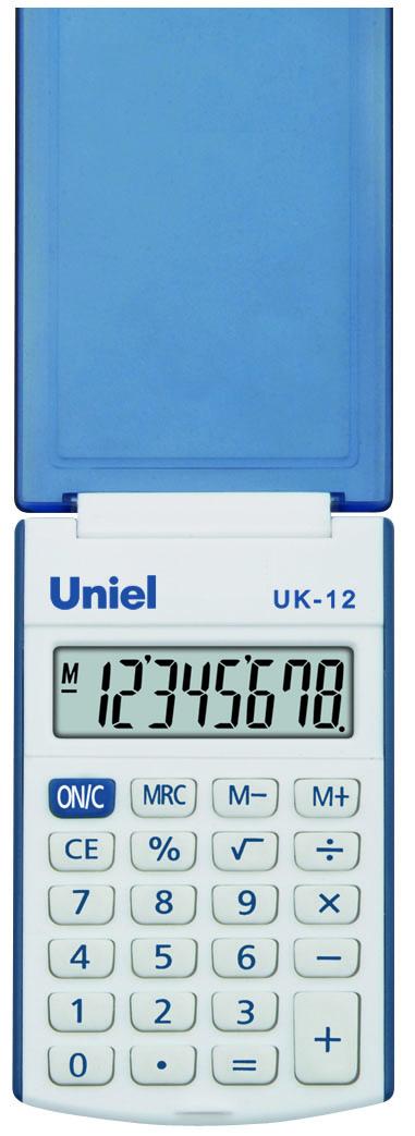 Калькулятор 8 разр. Uniel карманный голубой