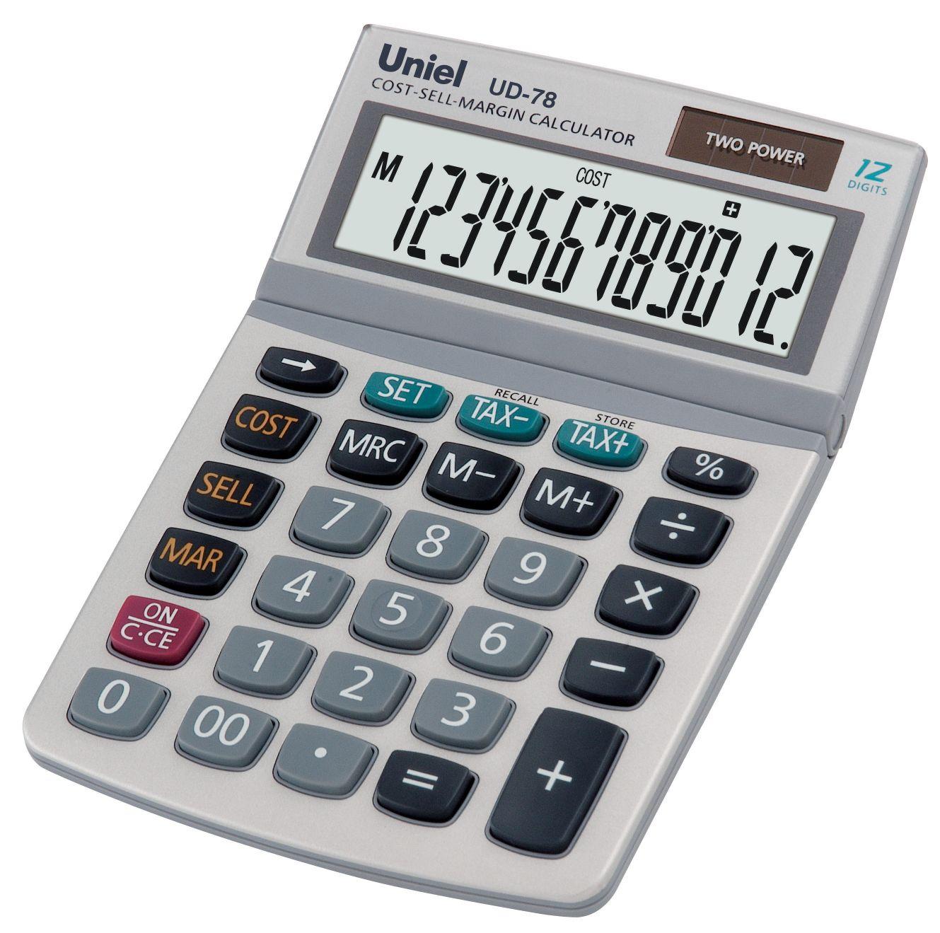 Калькулятор 12 разр. Uniel настольный серебристый