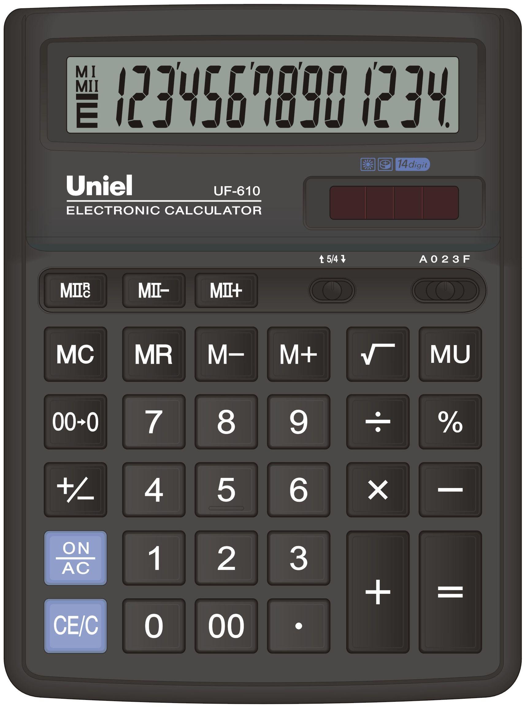 Калькулятор 14 разр. Uniel настольный черный