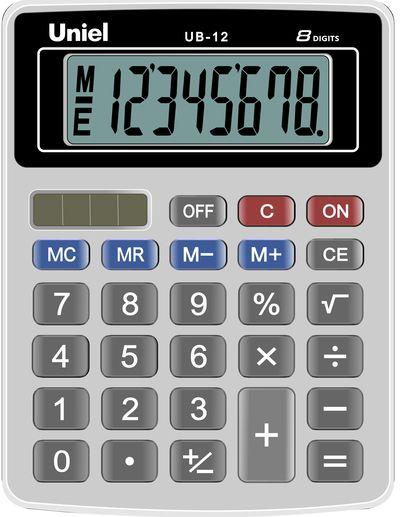 Калькулятор 8 разр. Uniel настольный серо-черный