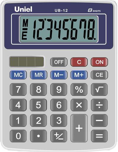 Калькулятор 8 разр. Uniel настольный синий