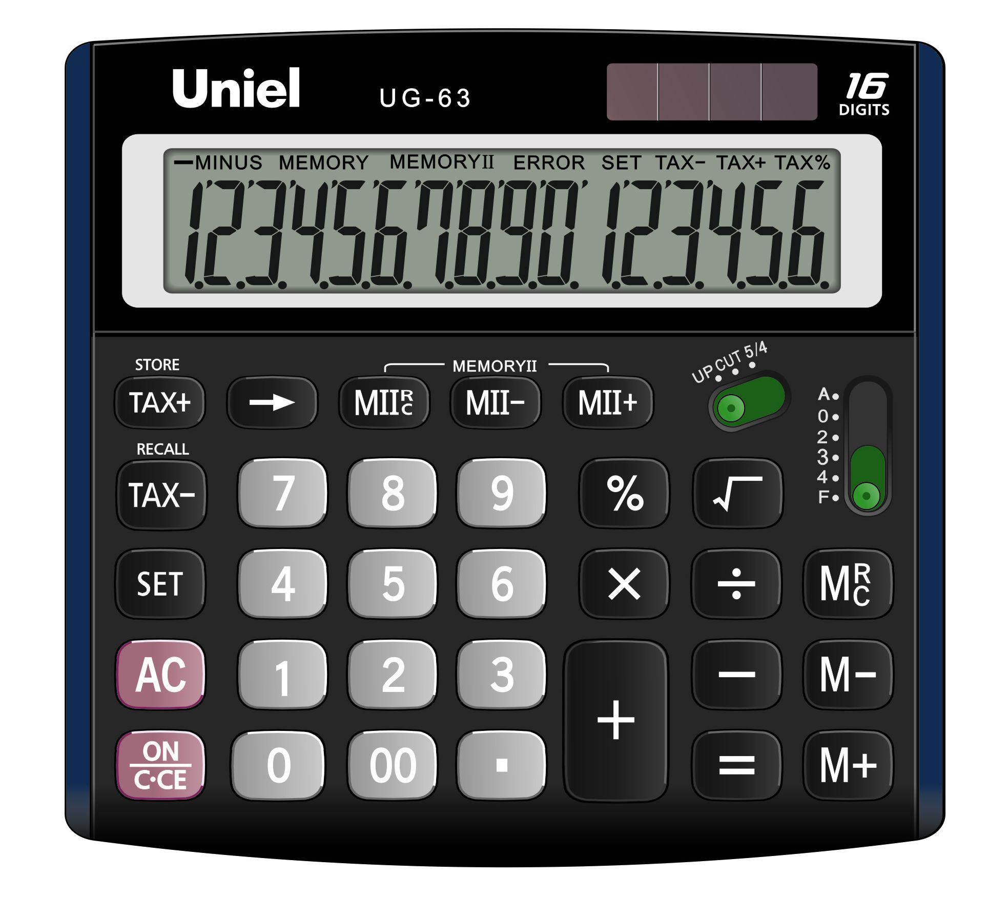 Калькулятор 16 разр. Uniel настольный черный