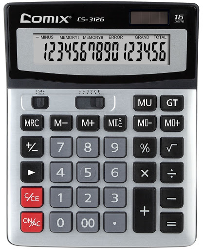 Калькулятор 16 разр. Comix металл двойн память