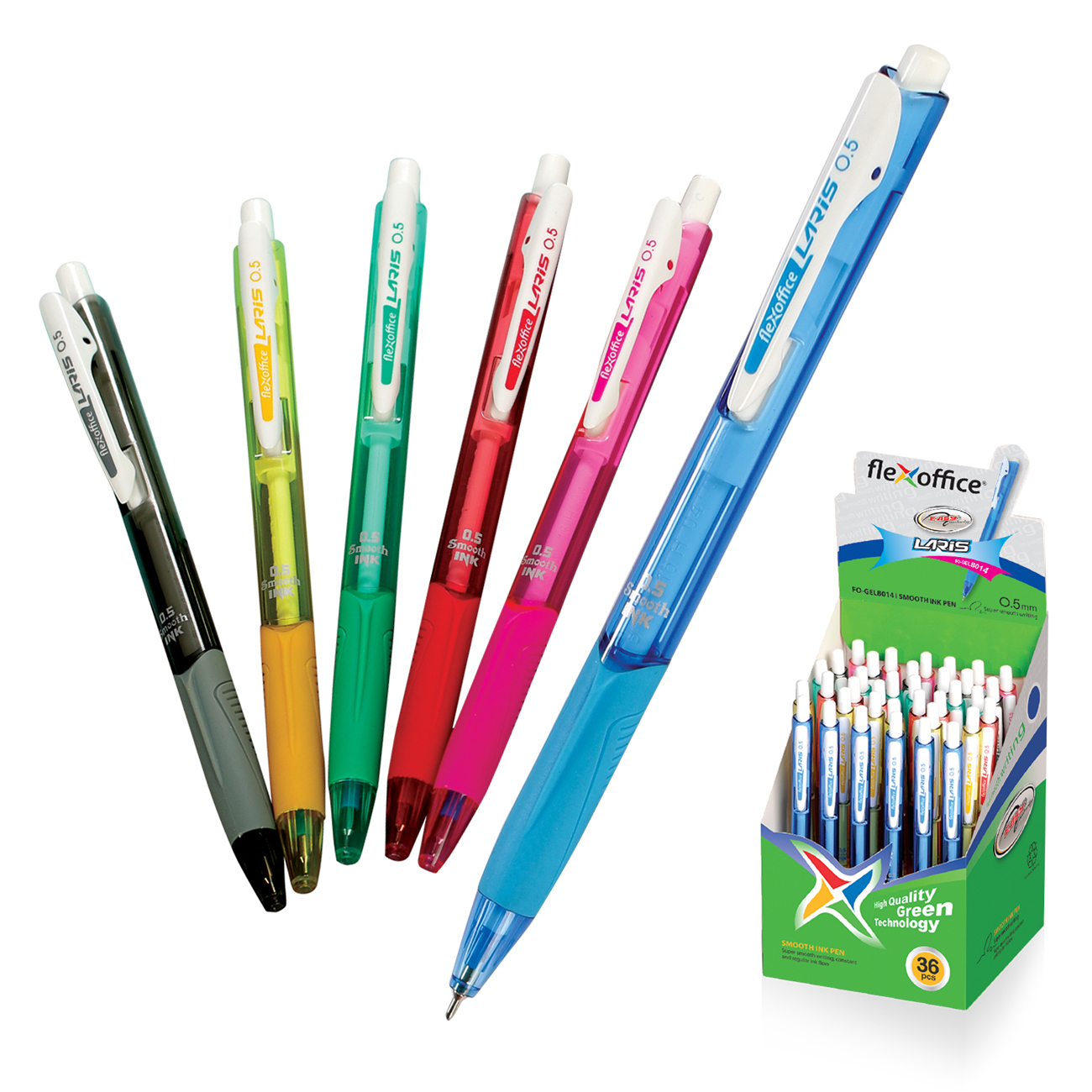 Ручка шариковая Flexoffice Laris синяя 0,5мм маслян чернил автомат