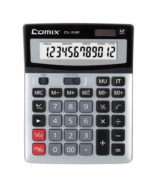 Калькулятор 12 разр. Comix металл серебр двойн память