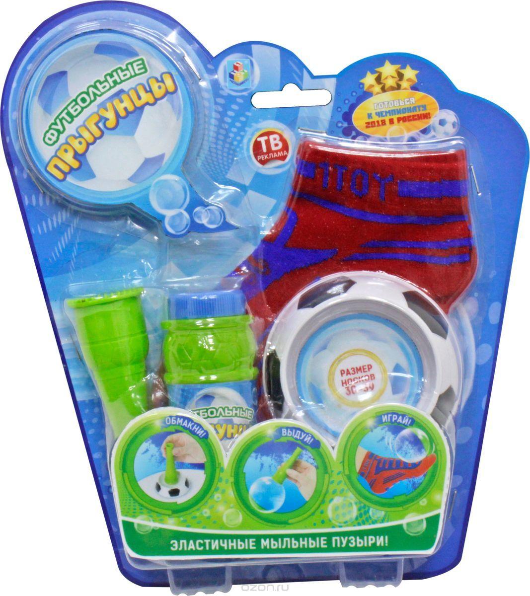 Мыльные пузыри 80мл Футбольные прыгунцы 2 носка, рожок, лоток