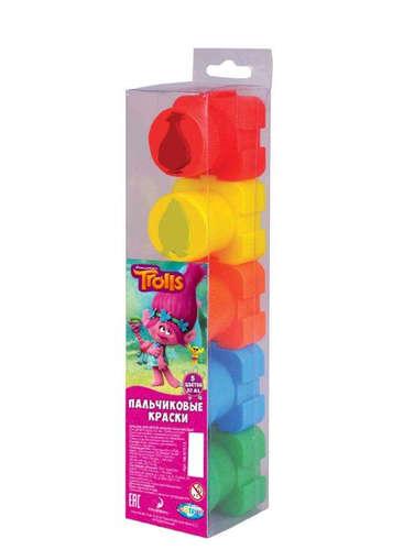 Краски пальчиковые 5цв Тролли со штампами 20мл