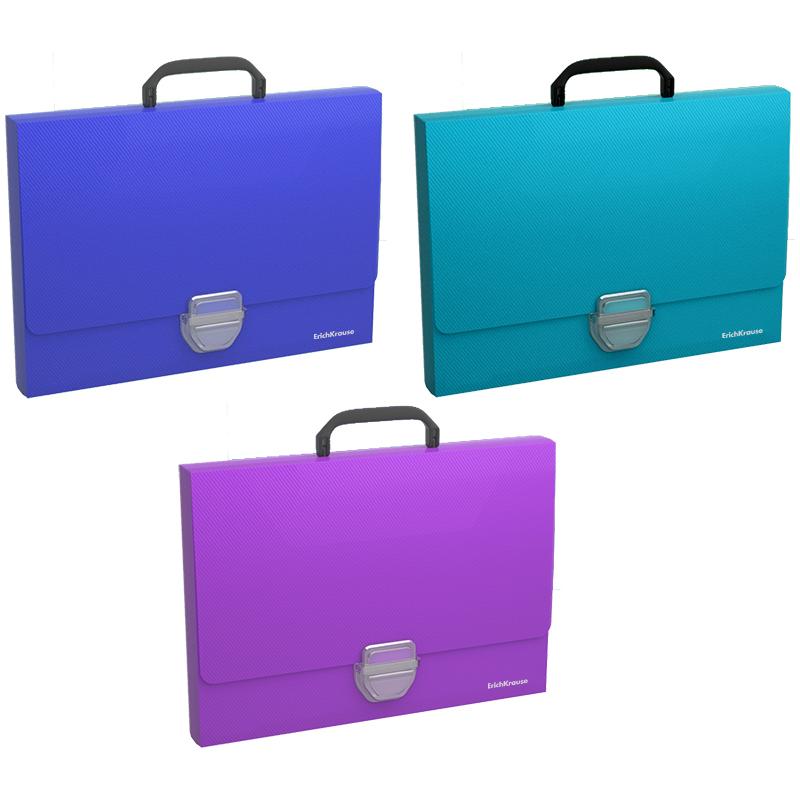 Портфель с ручкой 1отд EK Glance Vivid пластиковый на кнопке ассорти
