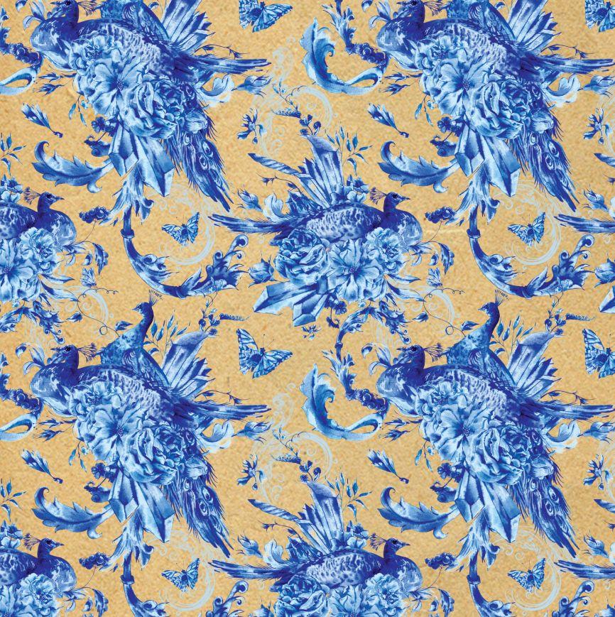 Праз Бумага упак. в рулоне 70*100 Голубые цветы немелован крафт 80г/м2
