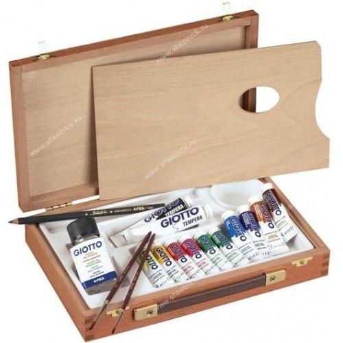 Набор для художника Giotto Wooden Case Деревян чемоданчик ( гуашь, кис