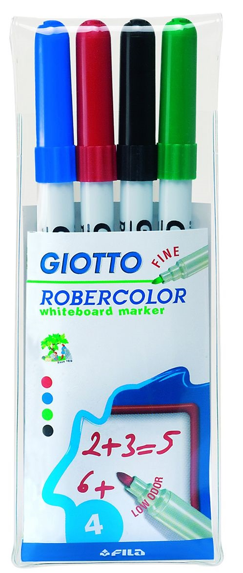 Маркеры д/доски 4 шт Giotto Robecolor Whiteboard Fine пл/уп