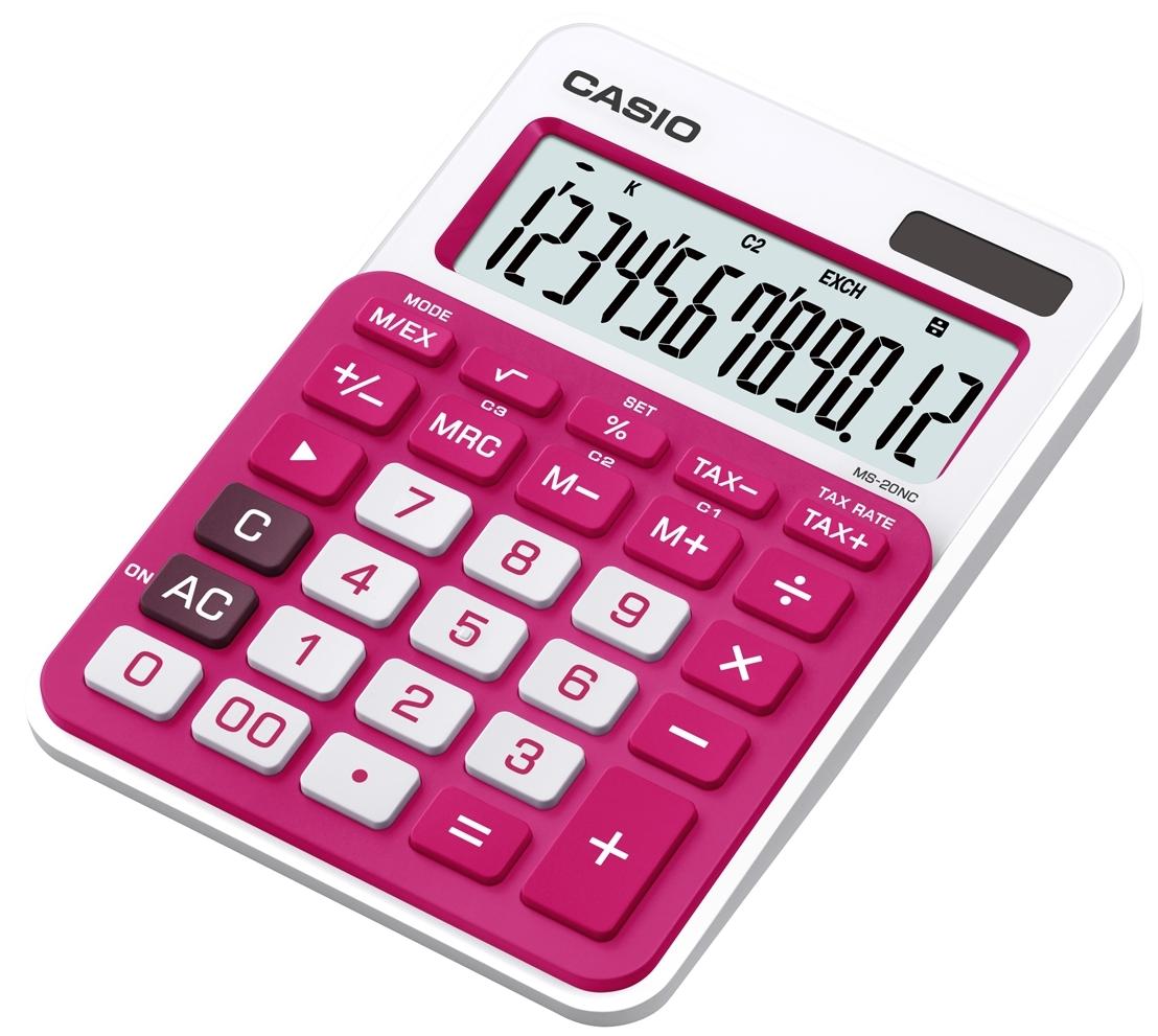 Калькулятор 12 разр. Casio настольный красный/ темно-розовый