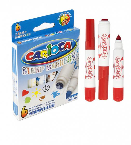 Фломастеры 6 цв Carioca Stamp Markers штампы к/к