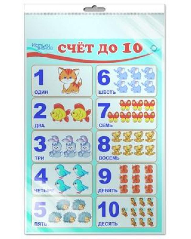 Плакат Счет до 10 А3 (в индивидуальной упаковке с европодвесом)