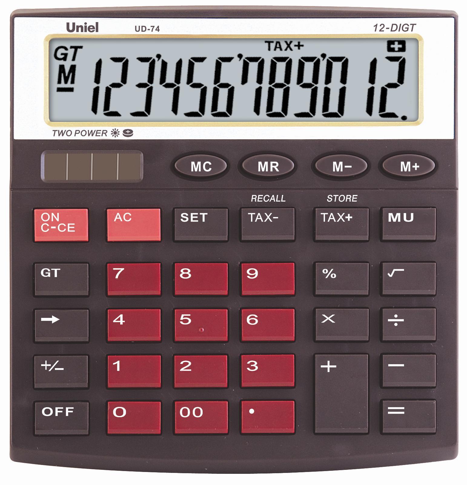 Калькулятор 12 разр. Uniel настольный красно-коричневый