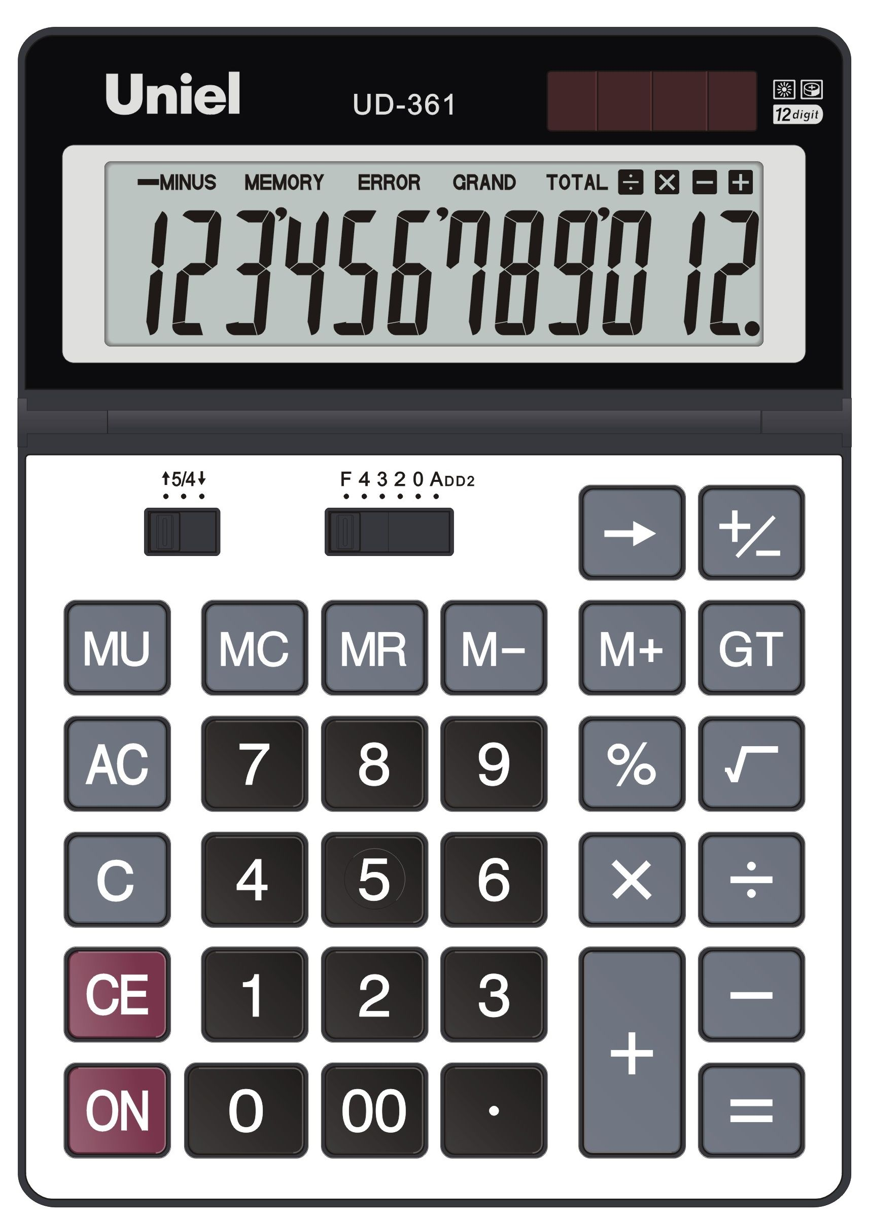 Калькулятор 12 разр. Uniel настольный черн/серый мет.панель