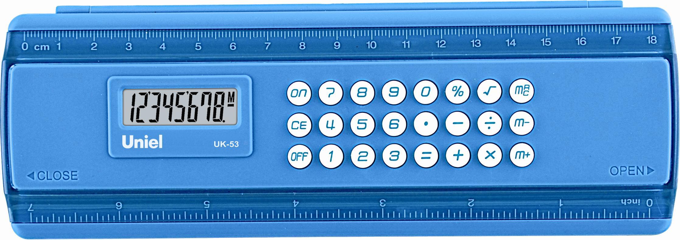 Калькулятор-пенал 8 разр. Uniel синий