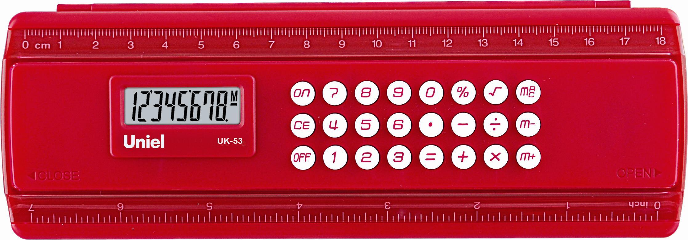 Калькулятор-пенал 8 разр. Uniel красный