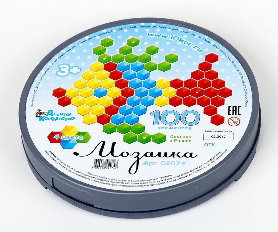Мозаика 100 эл. шестигран. фишек круглая