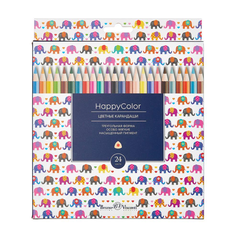 Карандаши цветные 24 цв Bruno Visconti Happy Color треуг к/к