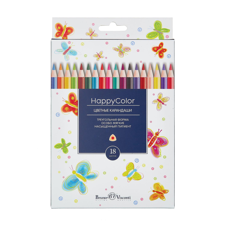 Карандаши цветные 18 цв Bruno Visconti Happy Color треуг к/к