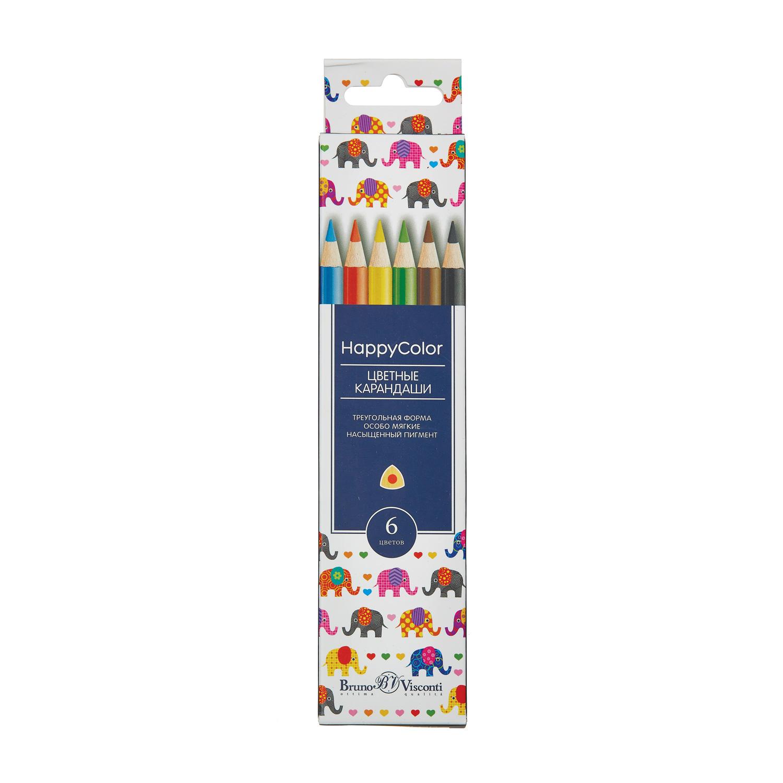 Карандаши цветные 6 цв BV HappyColor треуг к/к