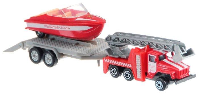 Набор Пожарная служба Урал с лодкой на прицепе металл