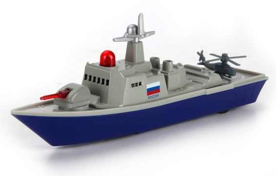 АКЦИЯ-20 Игр Корабль военный инерц. металл. 18см, свет, звук